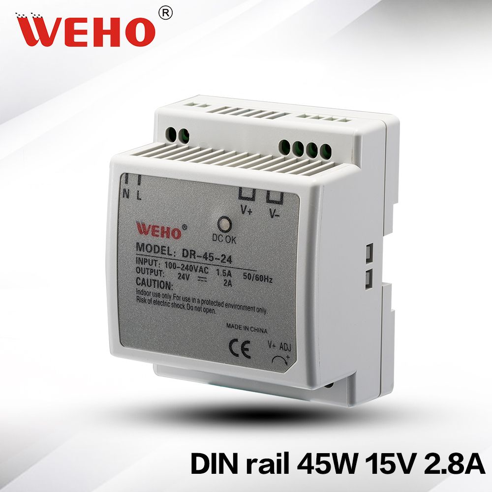 Dr 45 15 Iso9001 Ce Rohs Din Rail 15v Dc Power Driver 15v 45w Din Rail Power Supply Led Power Supply Locker Storage Electrical Equipment