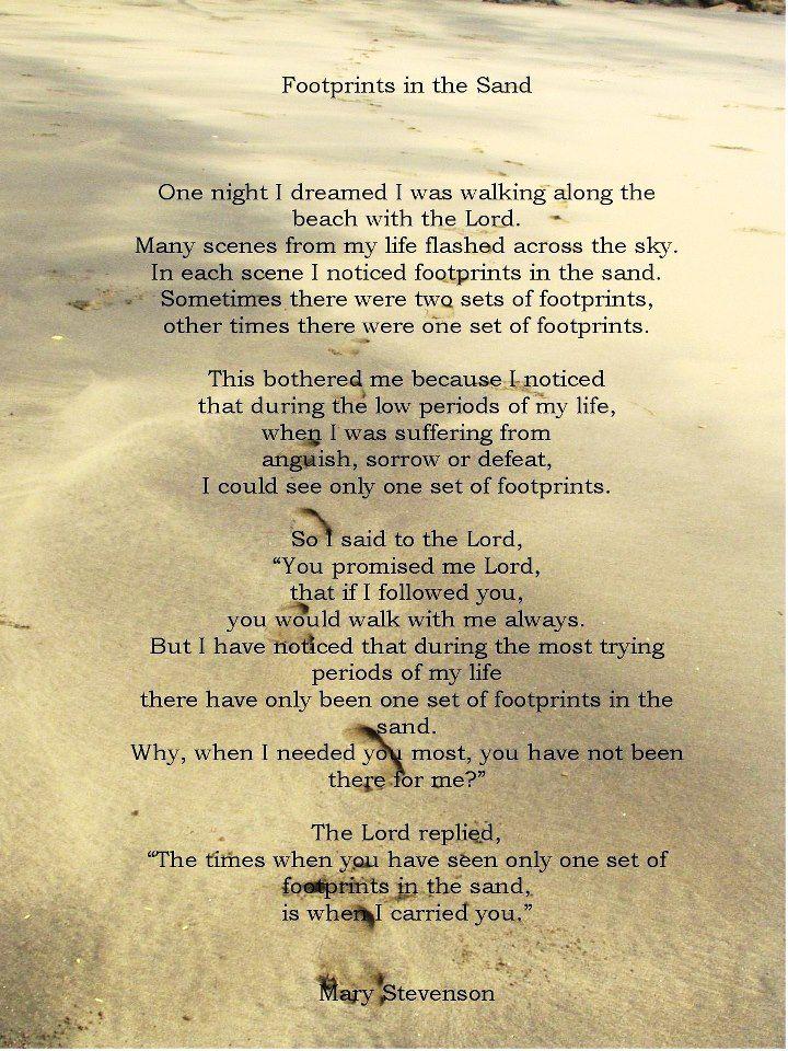 jesus citater Footprints in the sand | Quotes | Pinterest jesus citater