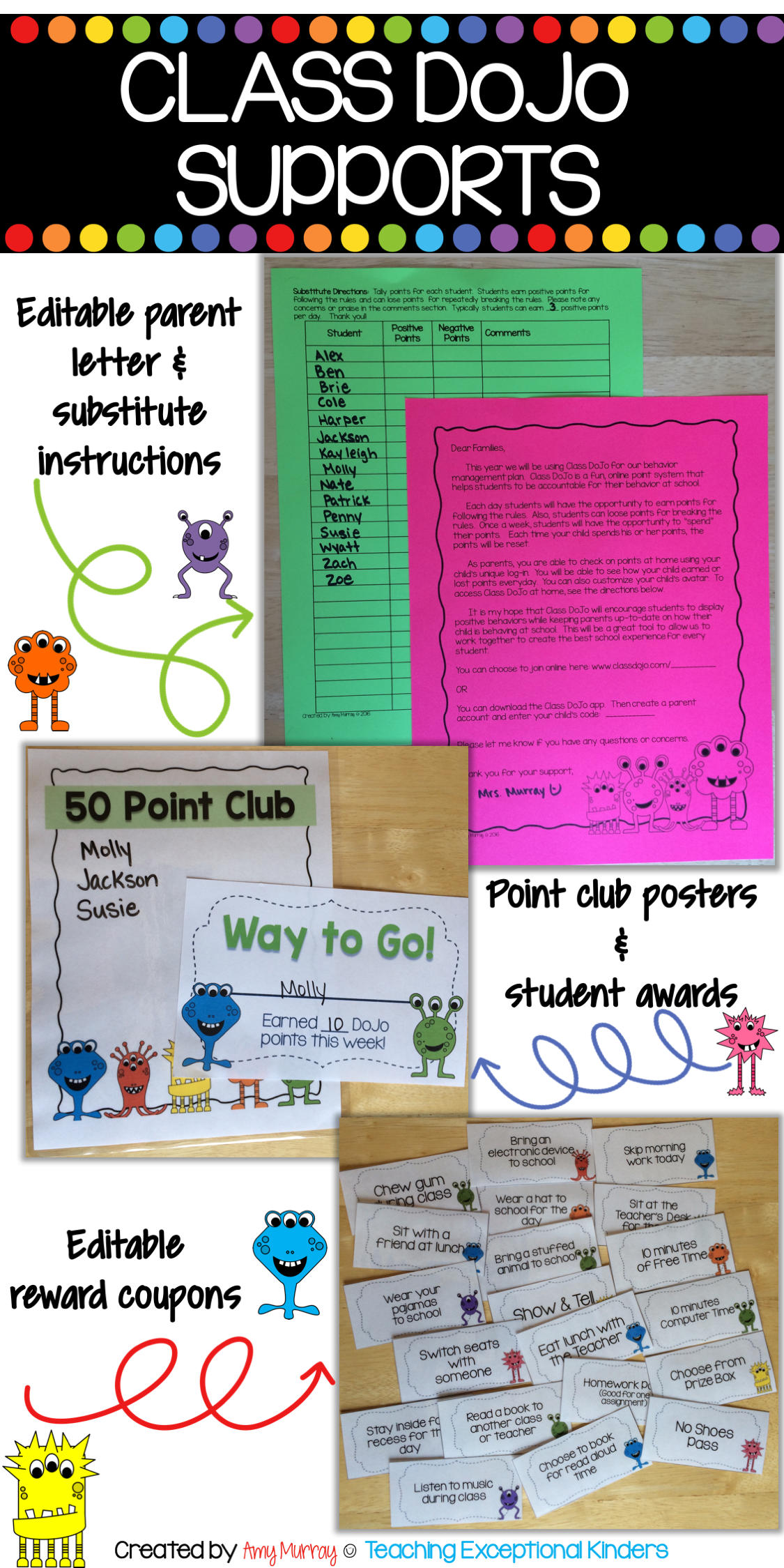 Class Dojo Supports for Behavior Management (editable