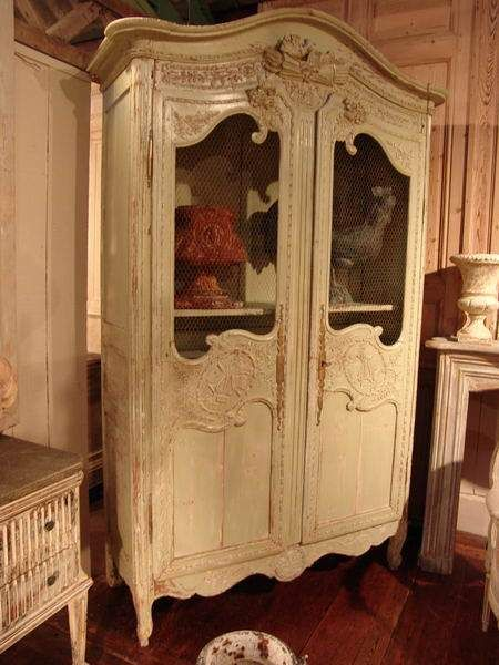 Antique French Armoire With Old Paint   SOLD