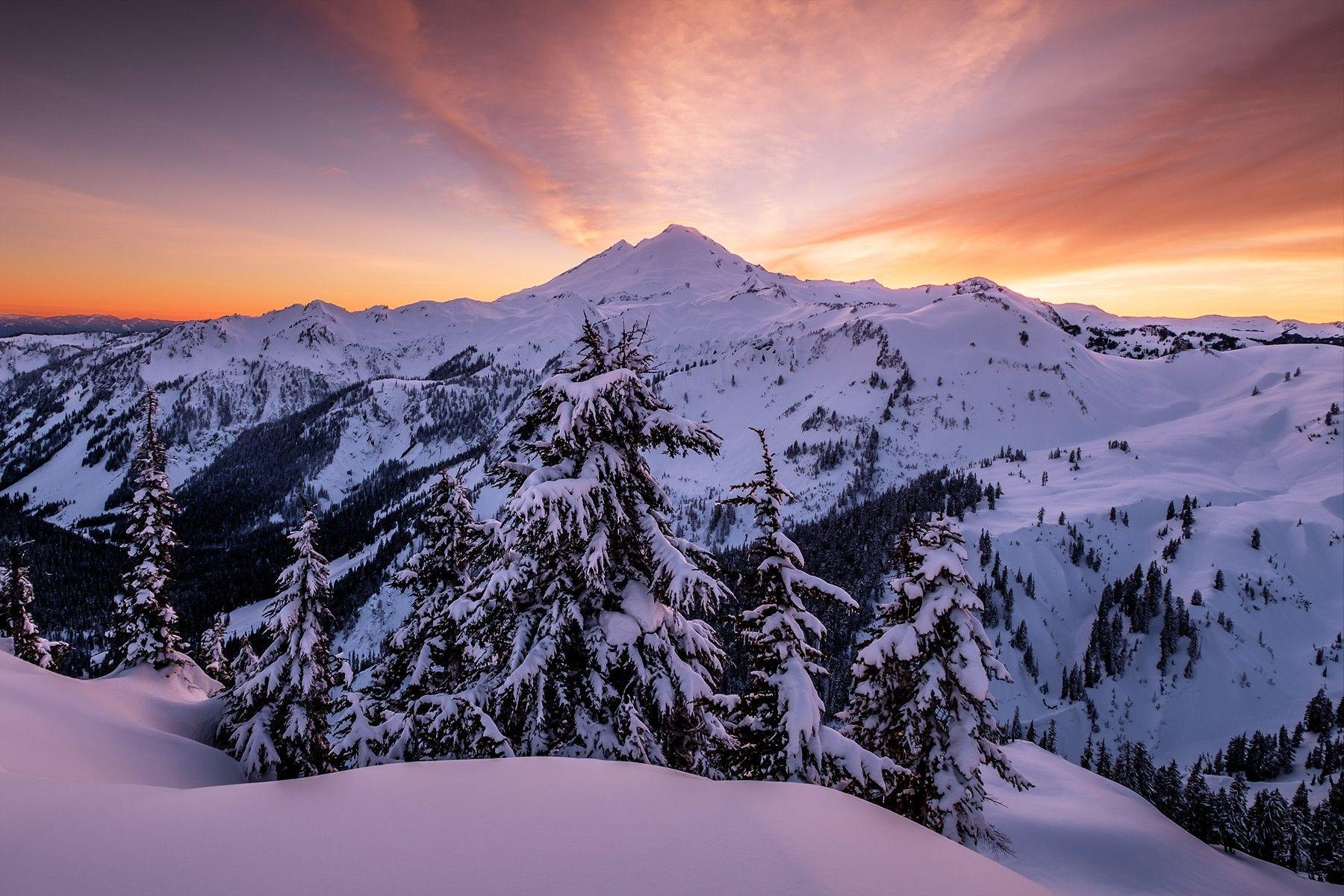 Sunset. Mt Baker, Washington Mountain photos, Earth