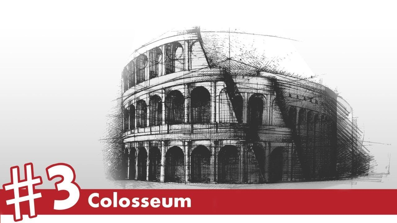 Colosseum perspective drawing 3 famous architecture