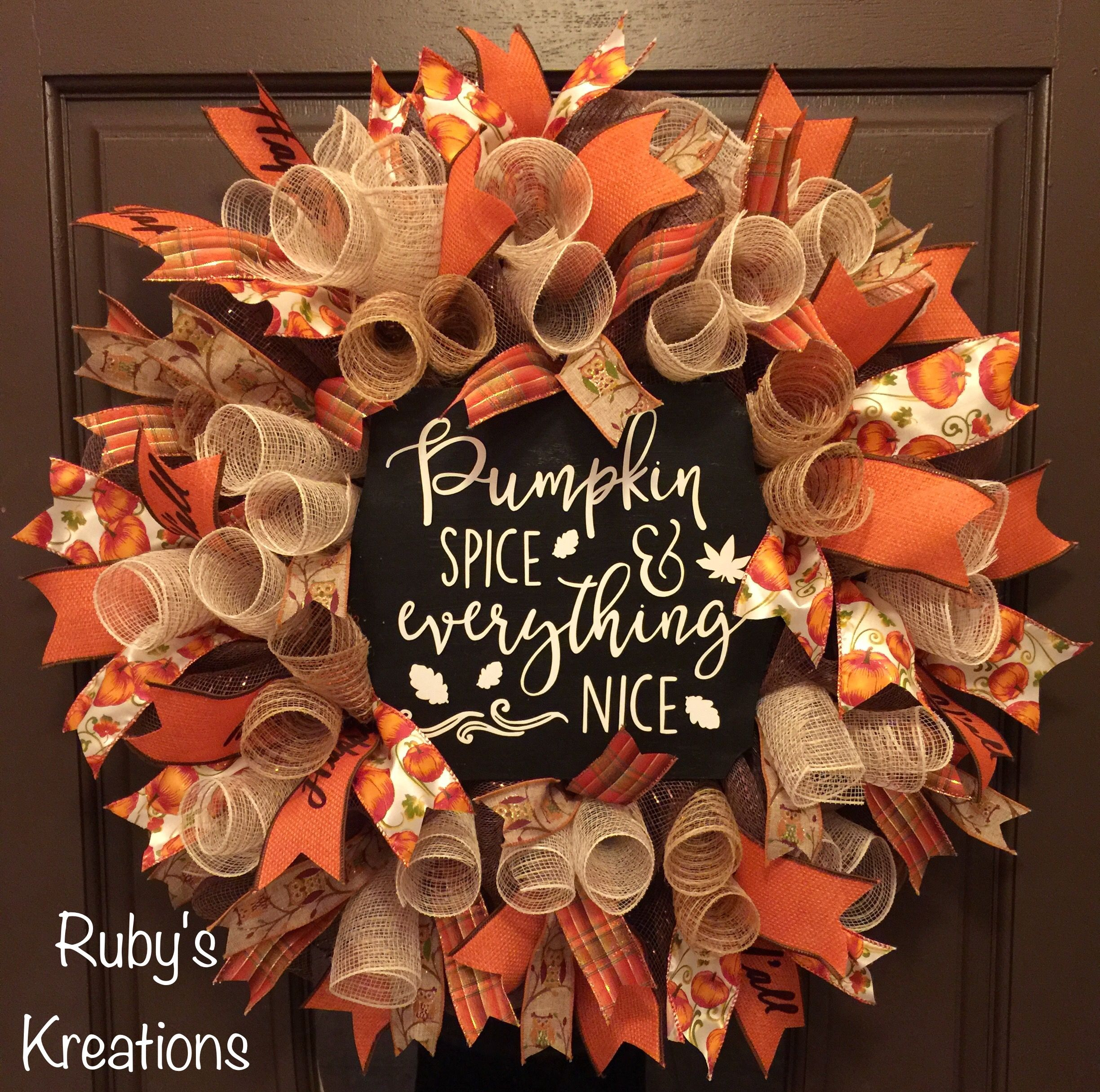 12 Easy Diy Deco Mesh Wreaths For Fall: Fall Wreath - Pumpkin Spice Wreath - Autumn Wreath