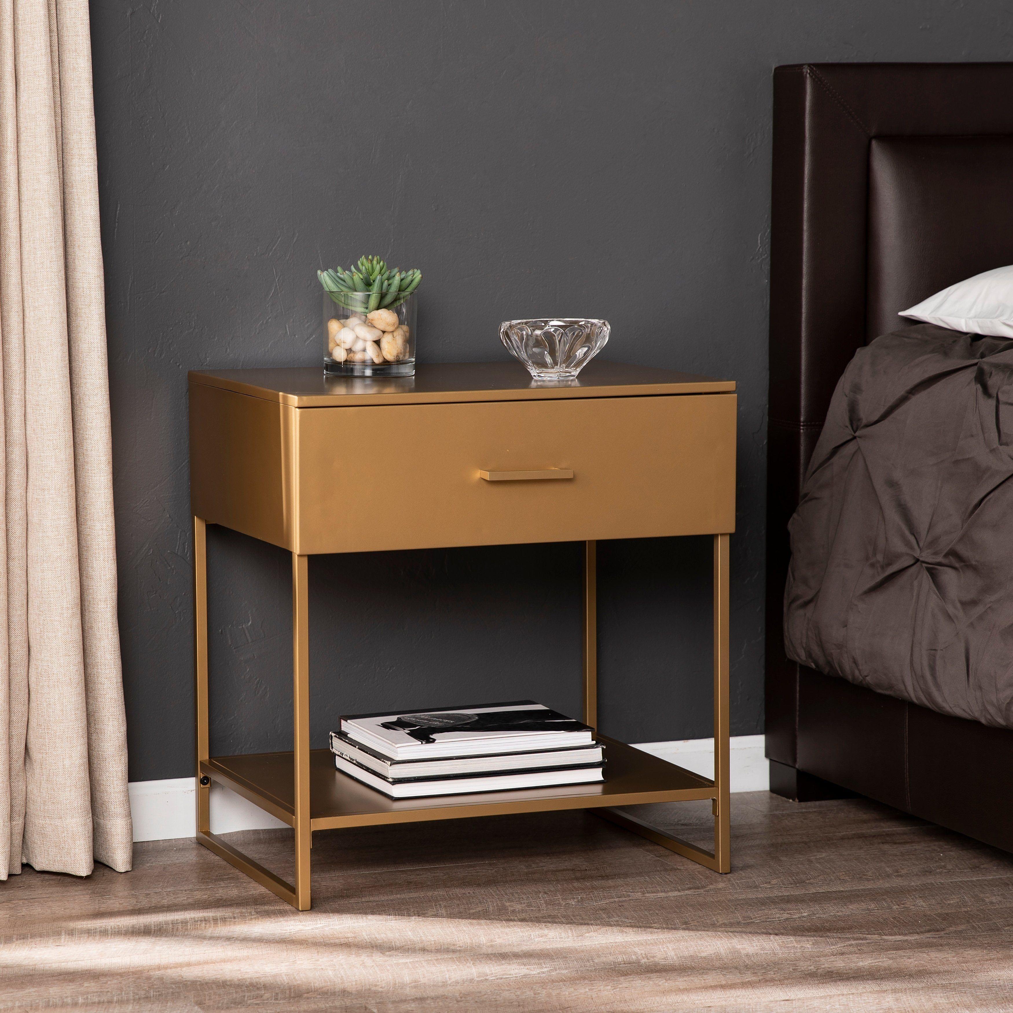 Best Harper Blvd Talton Metal Nightstand Bronze Furniture 400 x 300