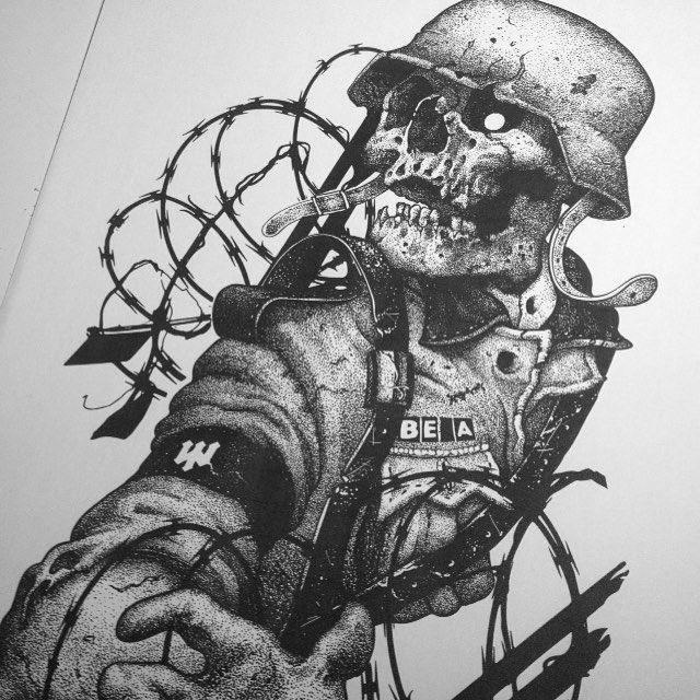 Done For @beaclothing #War #ww2 #skull #dotwork #darkart
