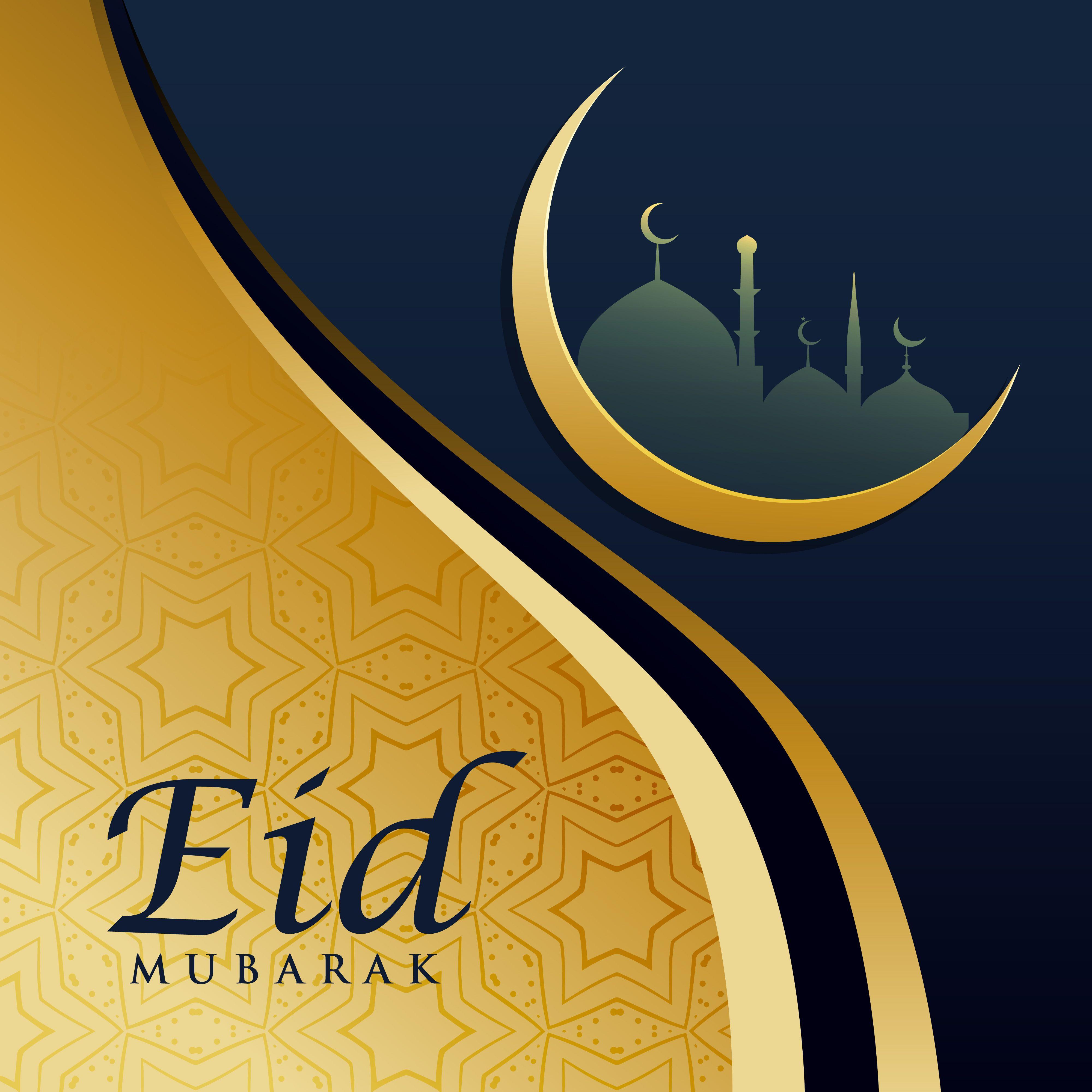 Elegant Eid Festival Greeting Card Design In Golden Theme Eid Mubarak Background Eid Mubarak Images Eid Greetings