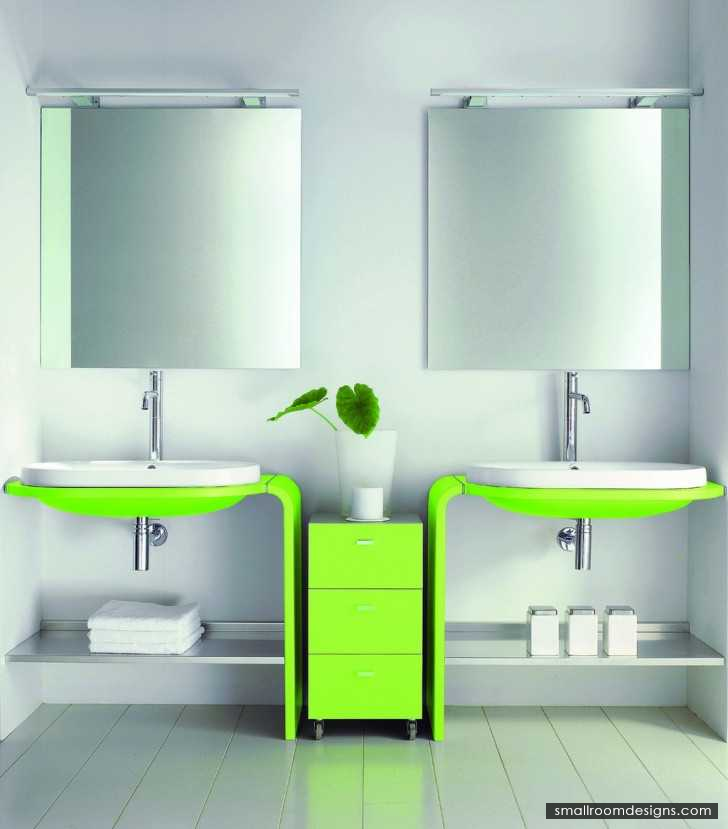 Futuristic-bathroom-vanity-unit-ideas-attractive-lime-green-vanity