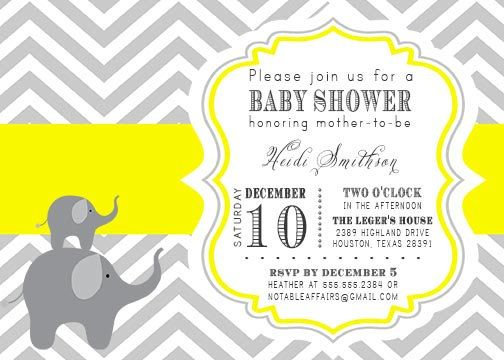 PRINTABLE Gray and Yellow Chevron Elephants Baby Shower Invitation