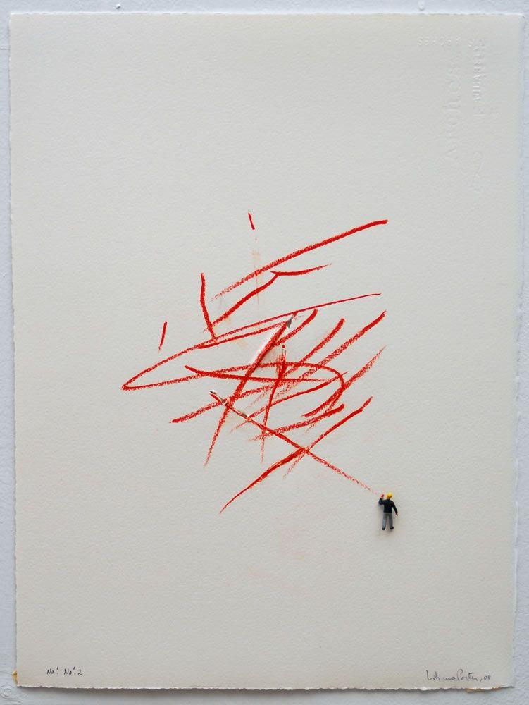 Liliana Porter:  No! No! (2) (2008), 15 ¼ x 11 ¼, Color pencil, cuts and metal figurine