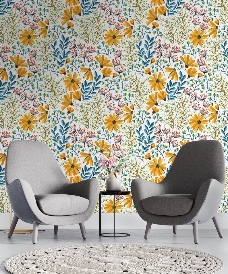 Removable Wallpaper Colorful Spring Flowers Peel And Stick Self Adhesive Traditional Wall Mural Eco Friendly Colors Reusable Vintage Removable Wallpaper Traditional Wallpaper Removing Old Wallpaper