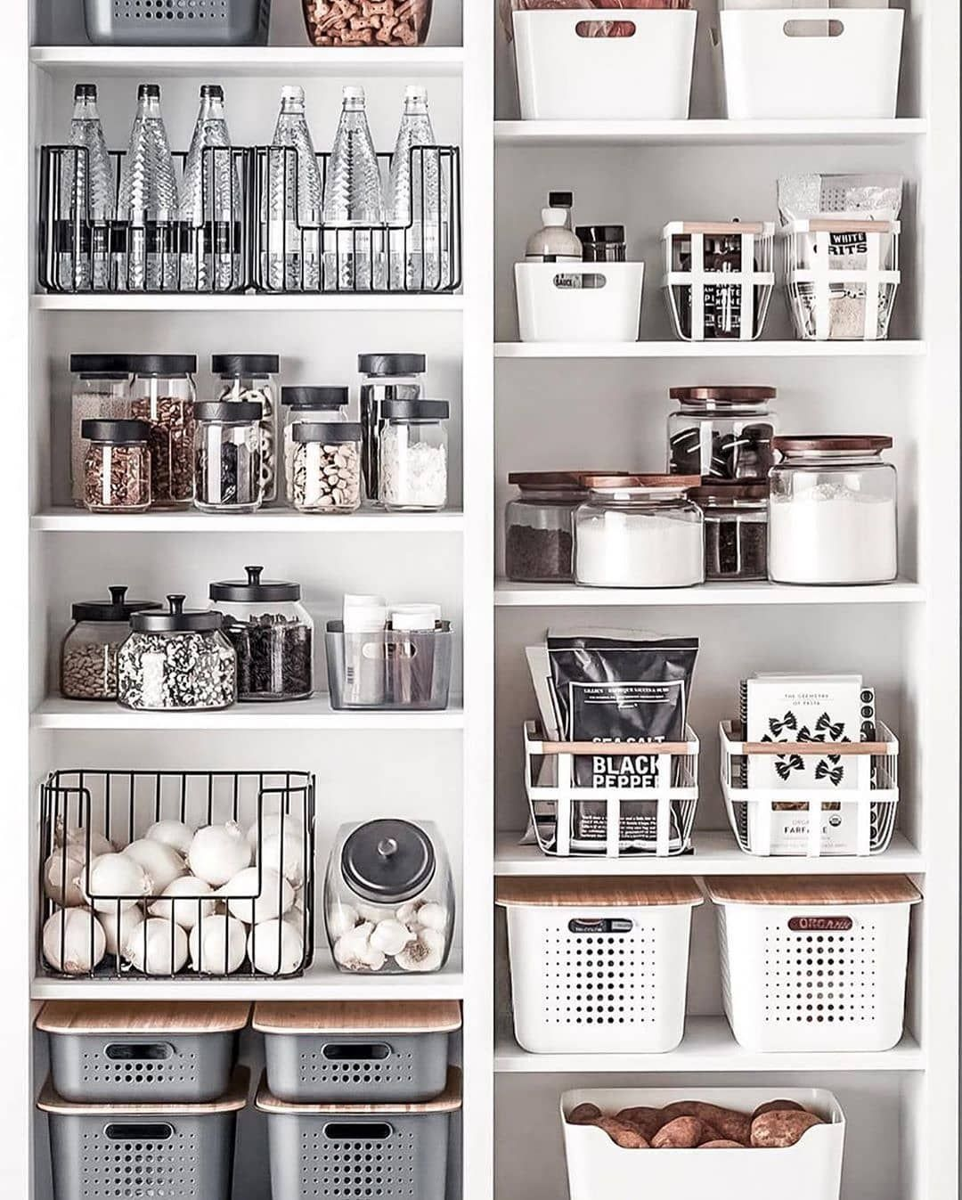 Maryam Home Organization On Instagram Loving This Black White Grey With A Touch Of Kitchen Organization Kitchen Organization Pantry Kitchen Pantry Design