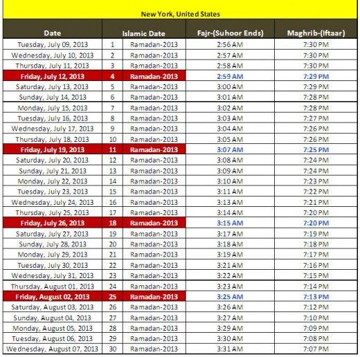 Ramadan Calendar 2013 New York United State Usa Sehri Iftar Timing