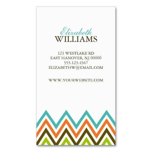Colorful Chevron Stripes Business Card   Business cards, Business ...