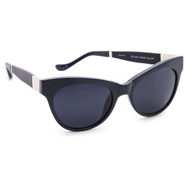 The Row Cat Eye Leather Sunglasses - Navy/Blue ($425) found on Polyvore