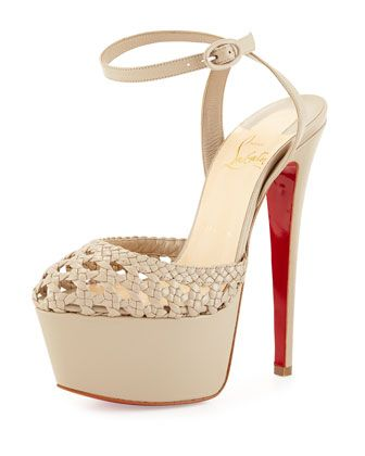 Woven Leather Platform Red Sole Sandal, Taupe by Christian Louboutin at Neiman  Marcus.