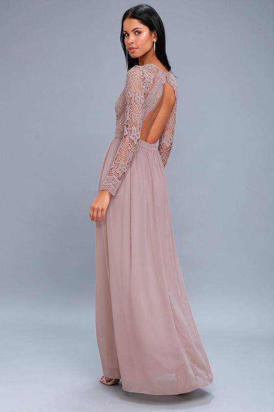 Awaken My Love Dusty Lavender Long Sleeve Lace Maxi Dress In