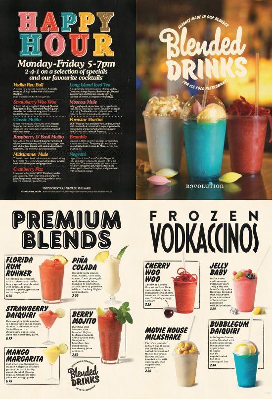 Drinks menu cocktail design graphic