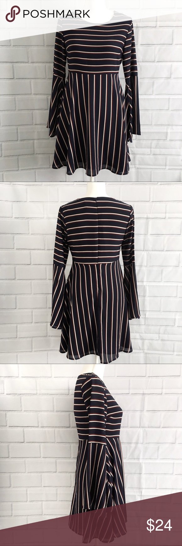 Sadie Robertson Wild Blue Striped BellSleeve Dress Sadie Robertson Wild Blue Striped babydoll Bell sleeves  Dress Size small Navy blue with maroon and off-white stripes Back zipper Sadie Robertson Dresses #sadierobertson