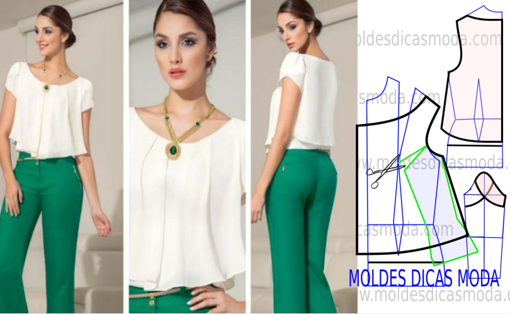 Blusa social feminina com o passo a passo do molde | Vamos costurar ...