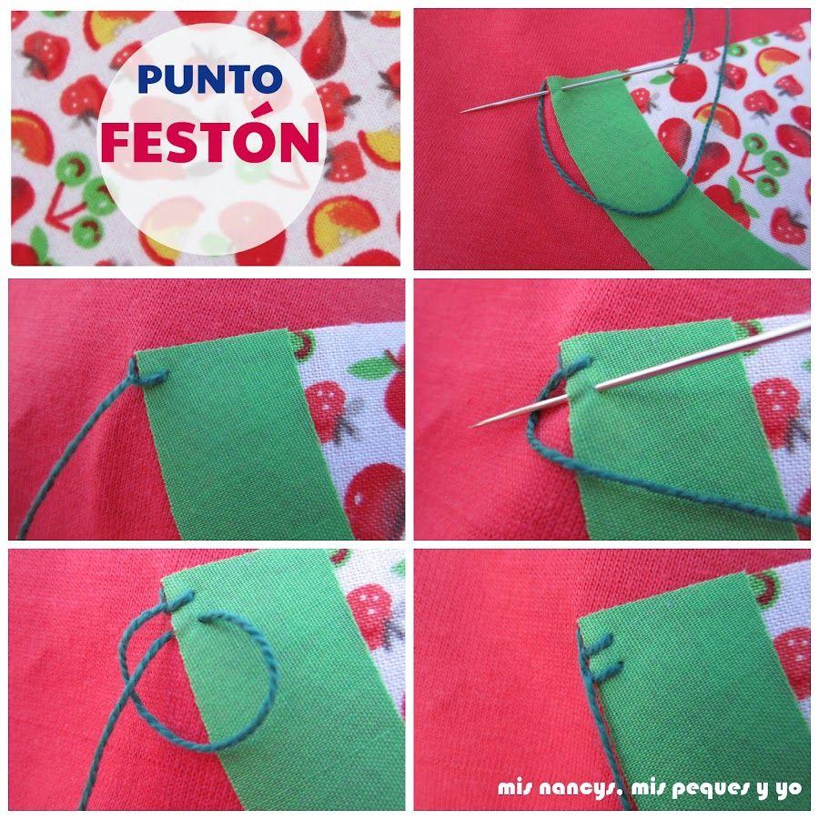 Aprendiendo a coser: ¿Sabes hacer el punto festón? | tecnicas de ...