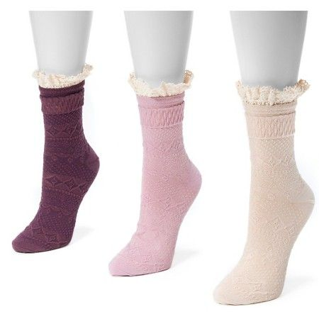 MUK LUKS® Women's 3 Pair Pack Lace Top Boot Socks - Multicolor One Size Fits - MUK LUKS® Women's 3 Pair Pack Lace Top Boot Socks - Multicolor One