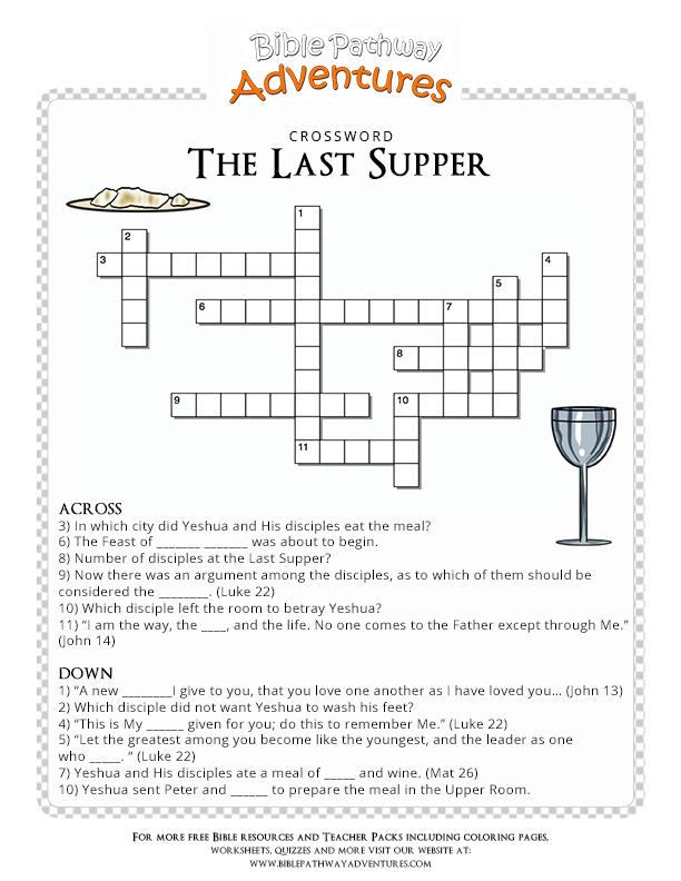 Bible Crossword Puzzle The Last Supper Lords Printable Puzzles