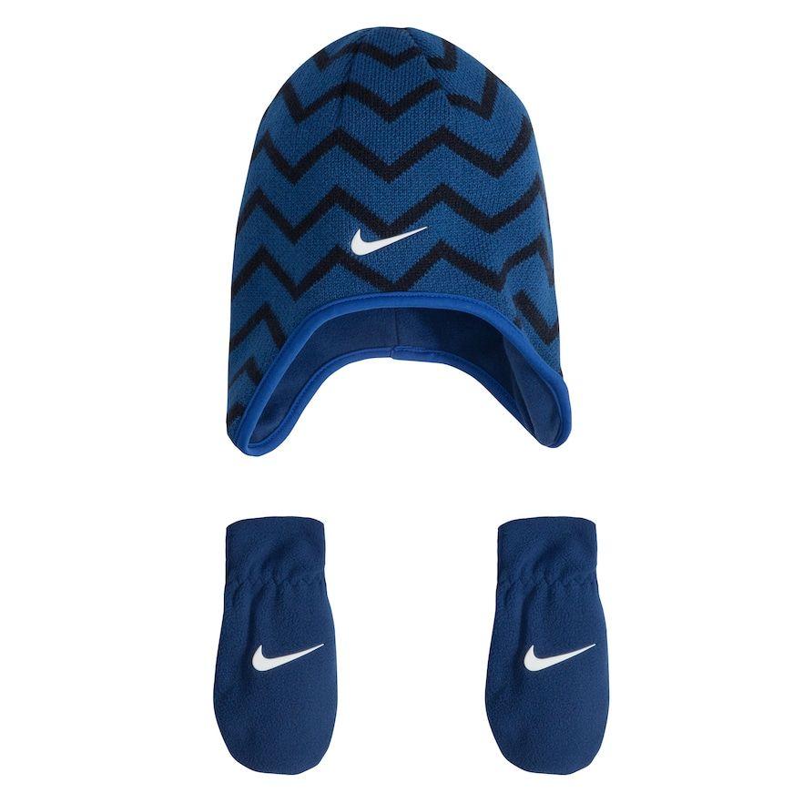 98ed4441 Baby Boy Nike Chevron Fleece Trapper Beanie & Mittens Set, Size: Infant,  Blue