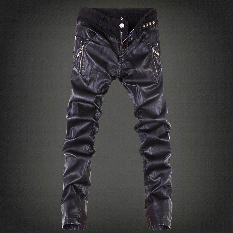 Barato 2019 Pantalones Vaqueros Ajustados Para Hombre Monos Jeans De Motocicleta Pantalones De Cuero Pu Pantalones De Vaquero De Retazos Pantalones Vaquero