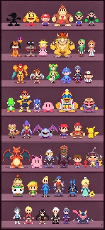Pixelated Super Smash Bros Characters Supersmashbros