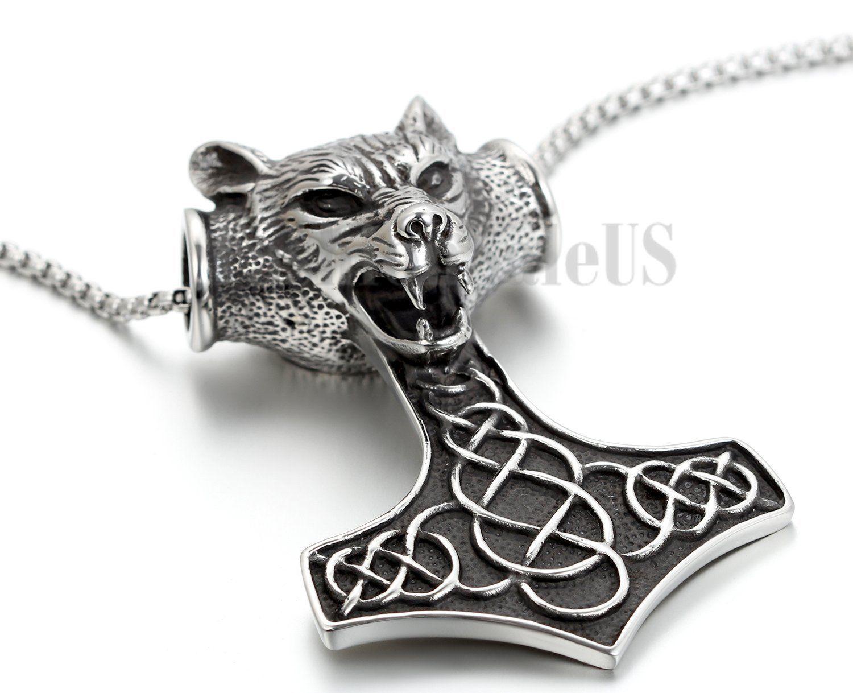 """New Men/'s Stainless Steel THOR/'S HAMMER Lion MJOLNIR Pewter Pendant 22/"""" Necklace"""