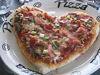 Heart shaped pizzas - yum