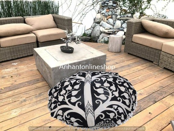 Round Ottomans Pouf Cover Hippie Black & White Cotton Cushion Cover Throw Decorative Pouffe Footstoo