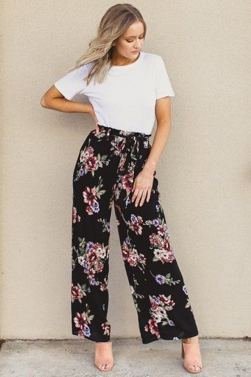 Proof That Theres Never a Wrong Time or Place for WideLeg Pants STYLECASTER  Wide Leg Pants  DressUp Celine floral wide leg pants in black