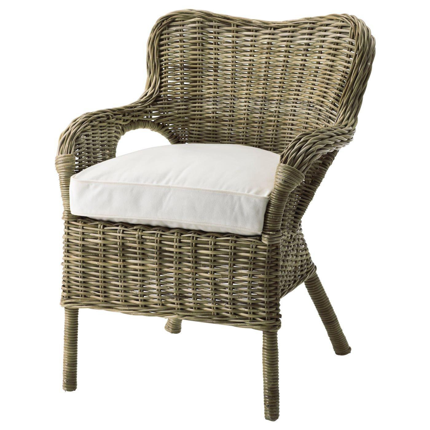 IKEA BYHOLMA Armchair gray, white Furniture, Rattan