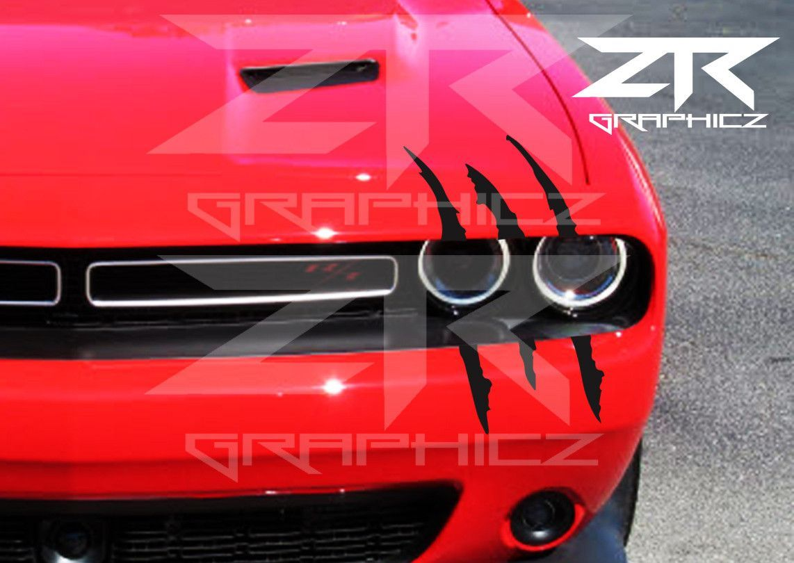 Dodge Challenger Headlight Claw Scratch Mark Decal Graphic