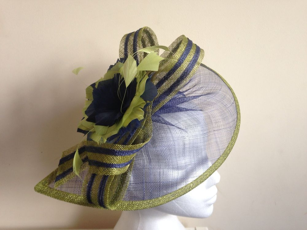 Mother Of The Bride Hats For Short Hair: Details About Dark Lime Green NaVy Blue Fascinator Hair