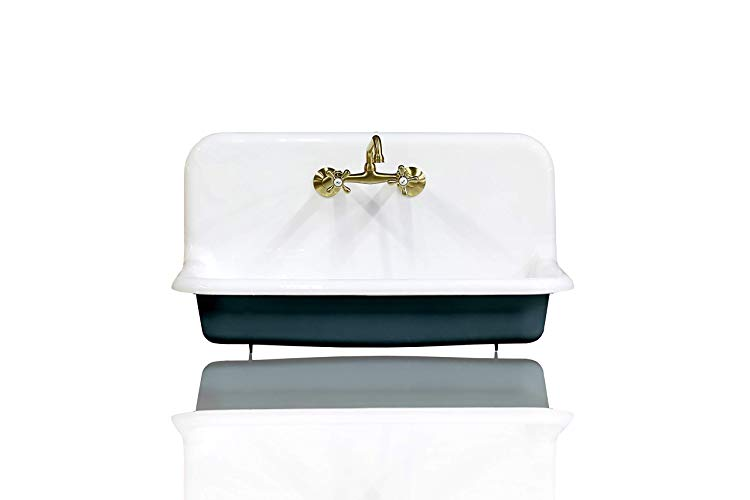 Amazon Com Antique Inspired 36 High Back Farm Sink Cast Iron Original Porcelain Wall Mount Kitchen Sink Package Hague Antique Inspiration Farm Sink Antiques