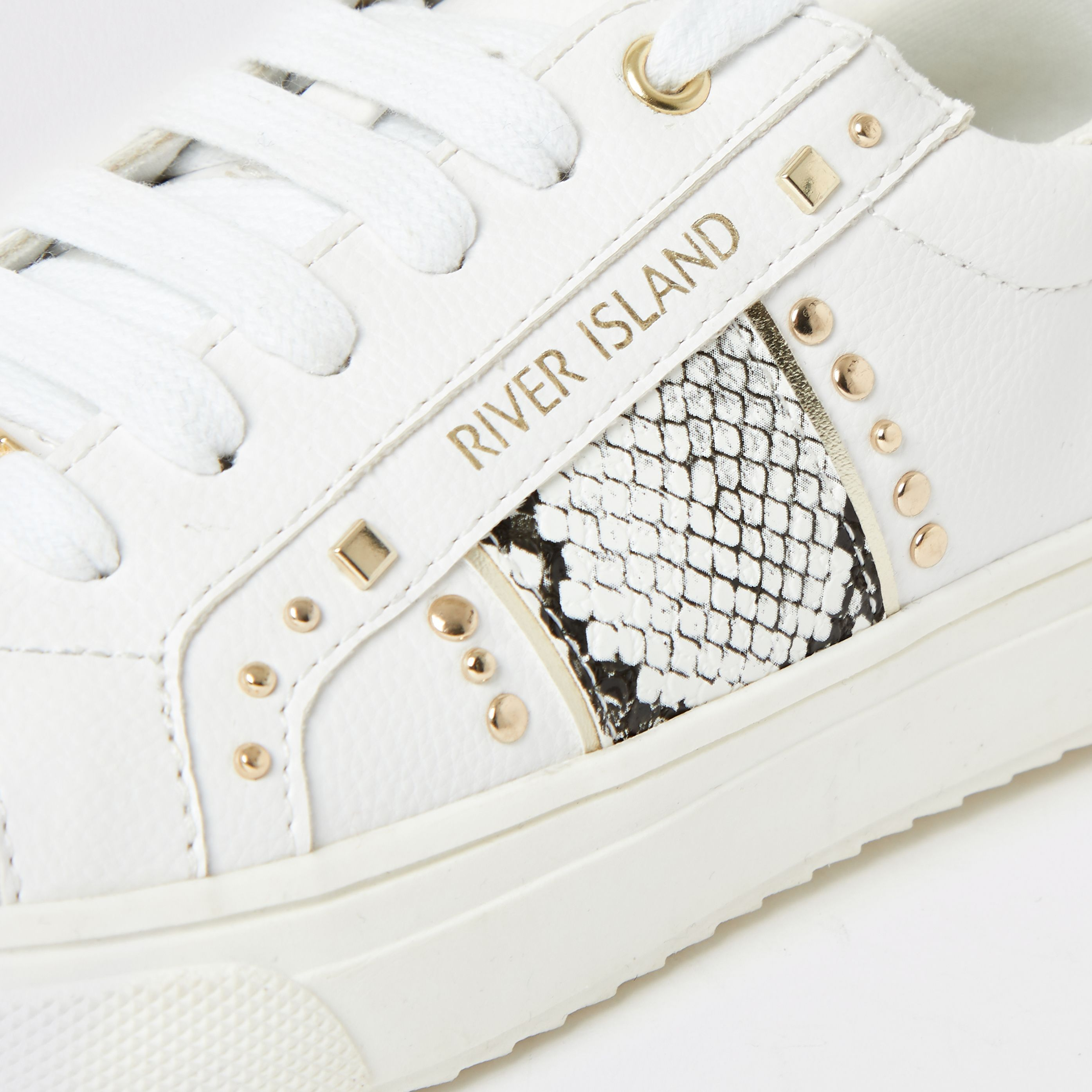 white snake printed studded trainers