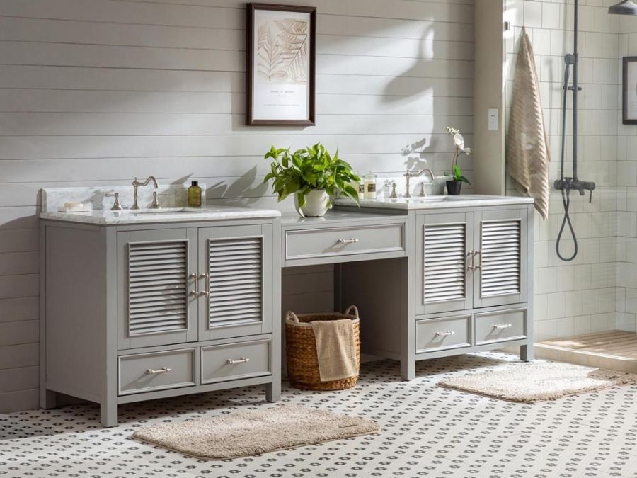 103 Inch Double Sink Bathroom Vanity With Makeup Table Uvsrv090103gwd103 Bathroom With Makeup Vanity Bathroom Sink Vanity Vanity Sink