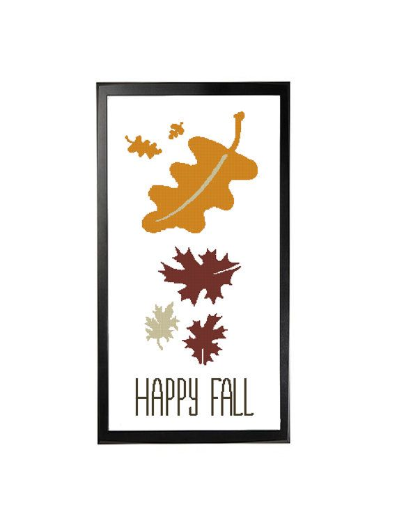 Happy Fall Leaves Falling Cross Stitch by LefojaCrossStitch #autumnleavesfalling