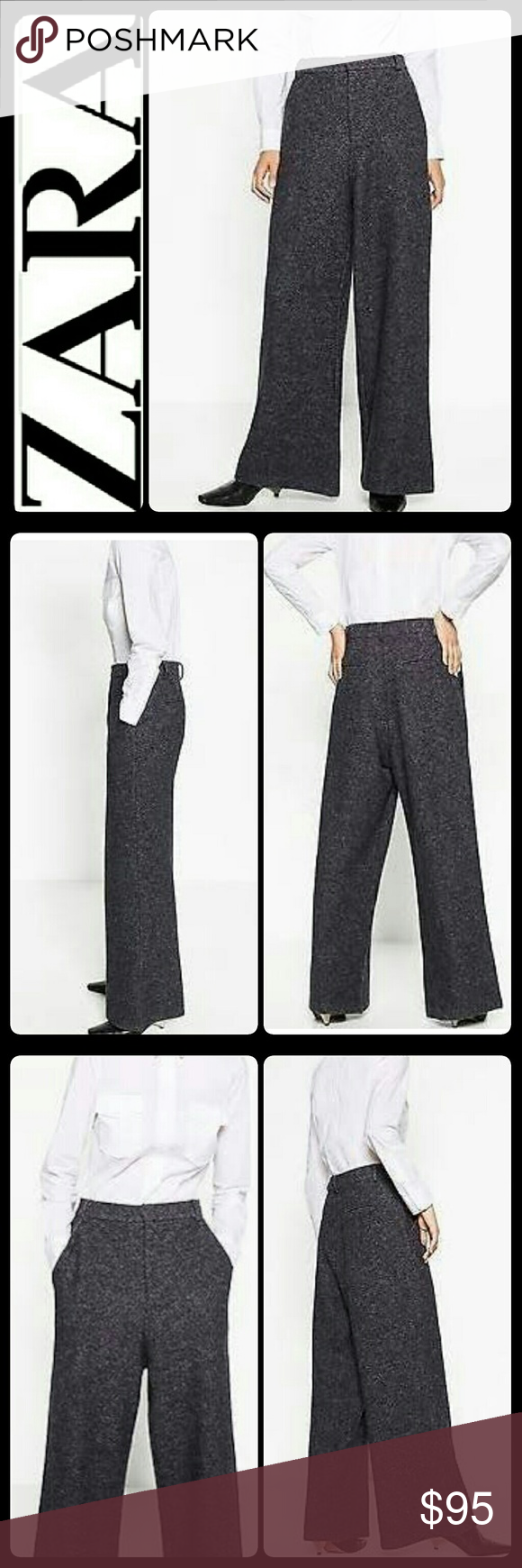 Zara Wool Grey Trousers NEW Zara Signature Brand in Classic Grey Wool Trousers! A Zara Basic Collection with Belt Loops and Side Pockets! Front Hook & Eye and Zipper Closure!  Made in Morocco with Material Blend of Polyester, Viscose, Acrylic and Wool! Size Large, with Inseam About 35 Inches, Waist Measures Approx 16.5 Inches, New! Zara Pants
