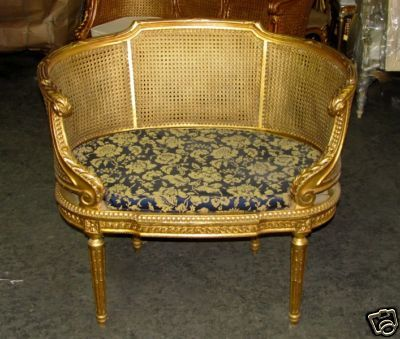 french louis xvi caned cane corbeille settee chair ebay antique furniture recamier chaise. Black Bedroom Furniture Sets. Home Design Ideas