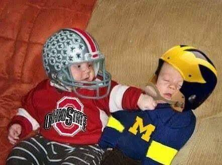 Osu Vs Michigan Teach Your Kids Early To Love The Buckeyes Ohio State Buckeyes Football Ohio State Vs Michigan Buckeye Nation