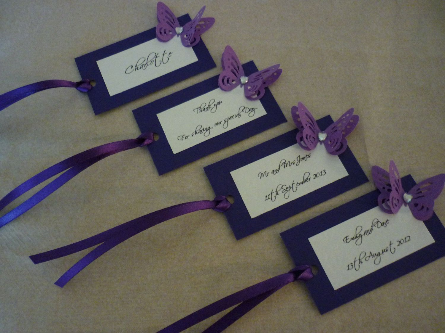 Cadbury Purple Wedding Invitations: 25 X Personalised Purple Butterfly Wedding Favour Tags