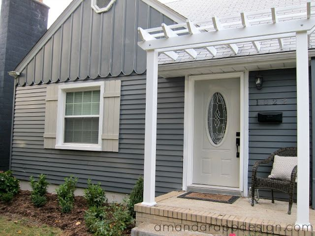 Bungalow, Pergola above front door, slate, blue, charcoal painted exterior,  gray - Bungalow, Pergola Above Front Door, Slate, Blue, Charcoal Painted