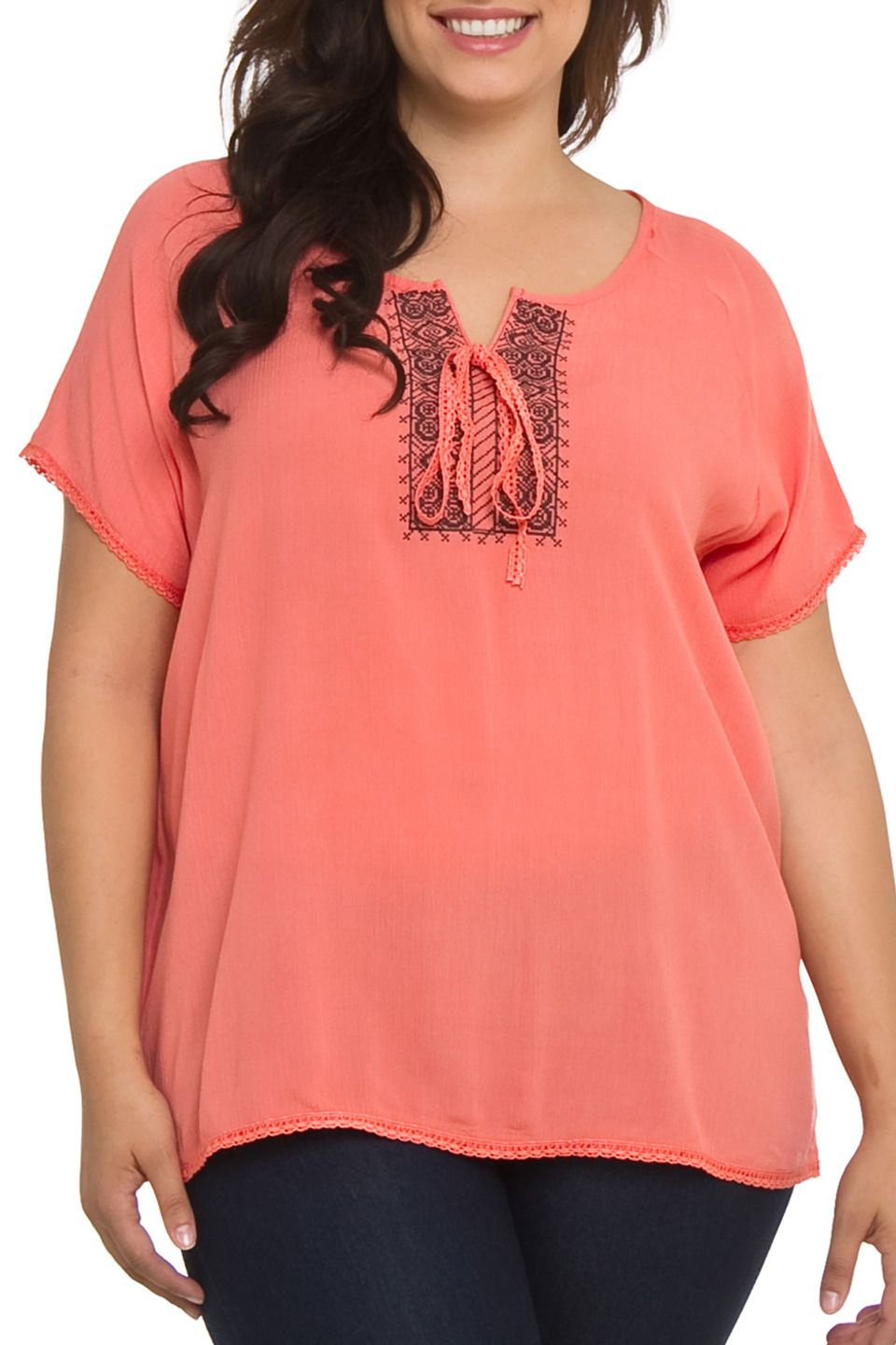 C.O.C Embroidered Peasant Top in Coral - Beyond the Rack