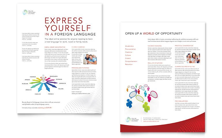 Language Learning Datasheet  Word  Publisher Template  Print