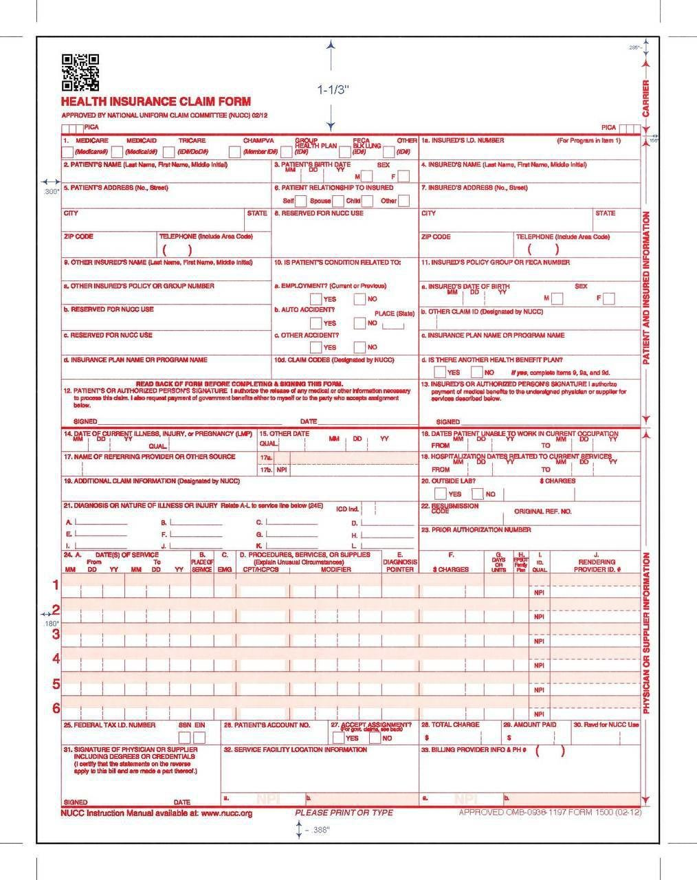 Cms 1500 Claim Form 2017 2018 Funeral Program Template