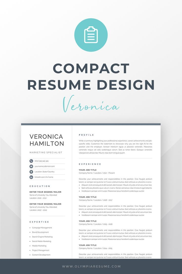 Professional Resume Cv Template With A Modern And Compact Design Includes One Click Image For More Resume How To Write A Resume Resume Tips Resume Exam