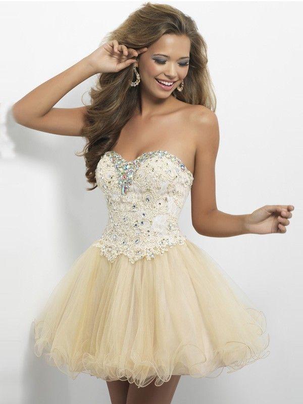 add23c45cddd A-Line/Princess Sleeveless Sweetheart Tulle Short/Mini Beading Dresses